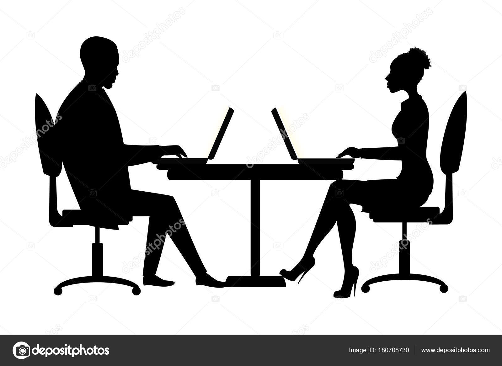 Office Workers Or Business People Silhouette Sitting At
