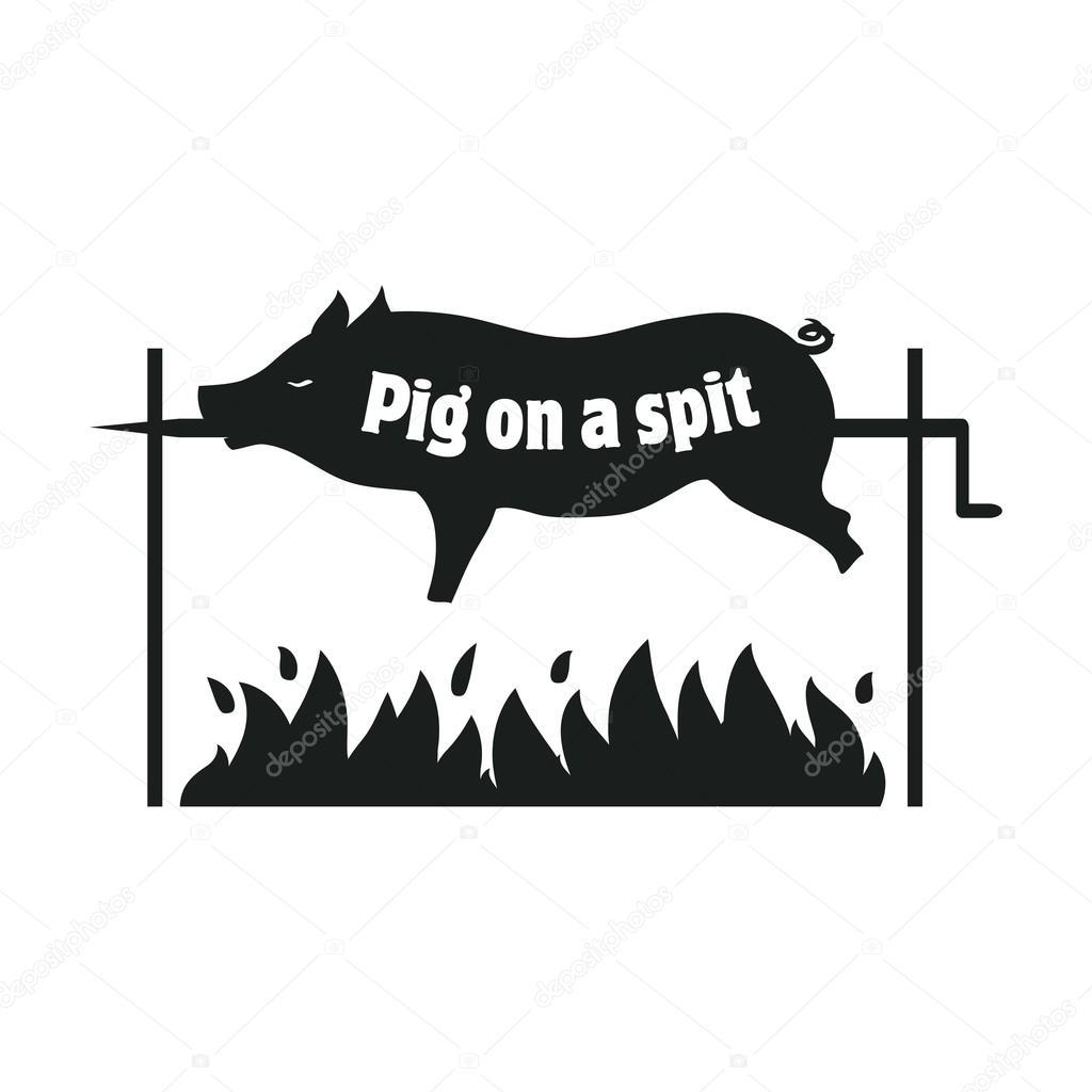 Gegrillten Schwein Schwein Am Spie Spanferkel Braten