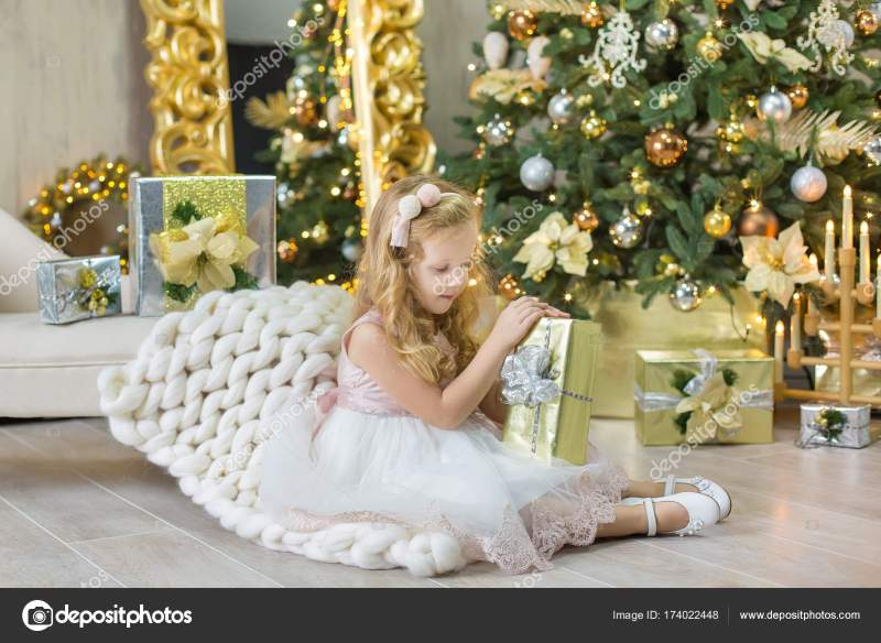 Christmas Xmas Casual Gold Studio Decorations With Cute Girl And Huge Mirror Golden Frame Plenty
