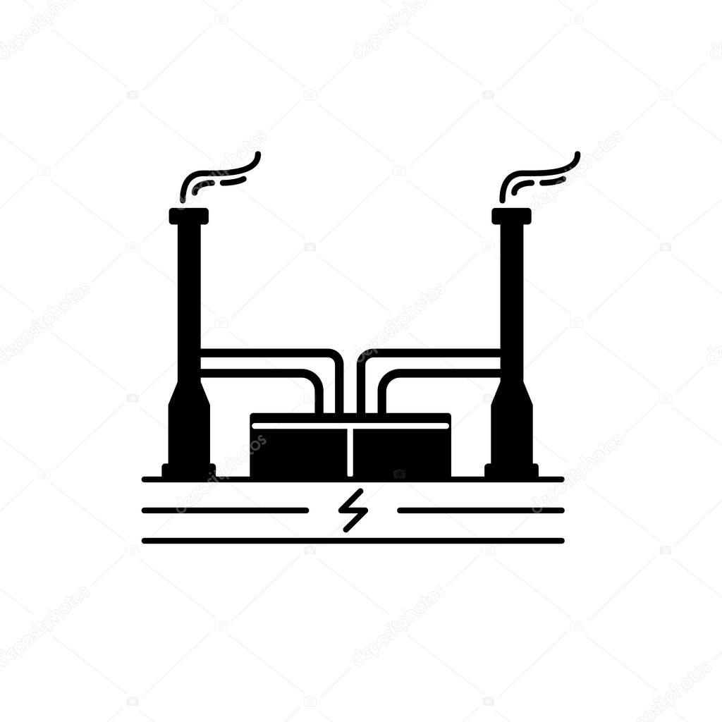 Icone De Silhueta Usina Geotermica Em Estilo Simples