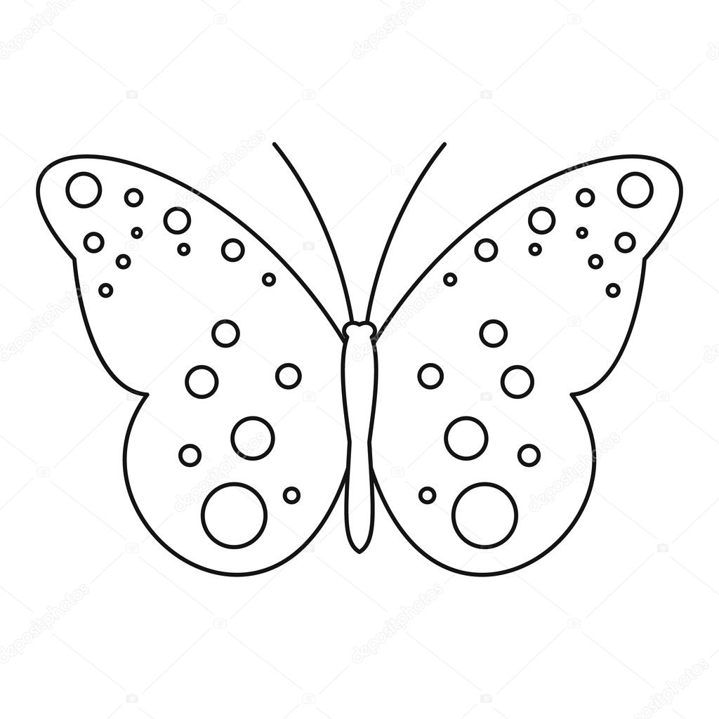 Butterfly With Spot Icon Outline Style