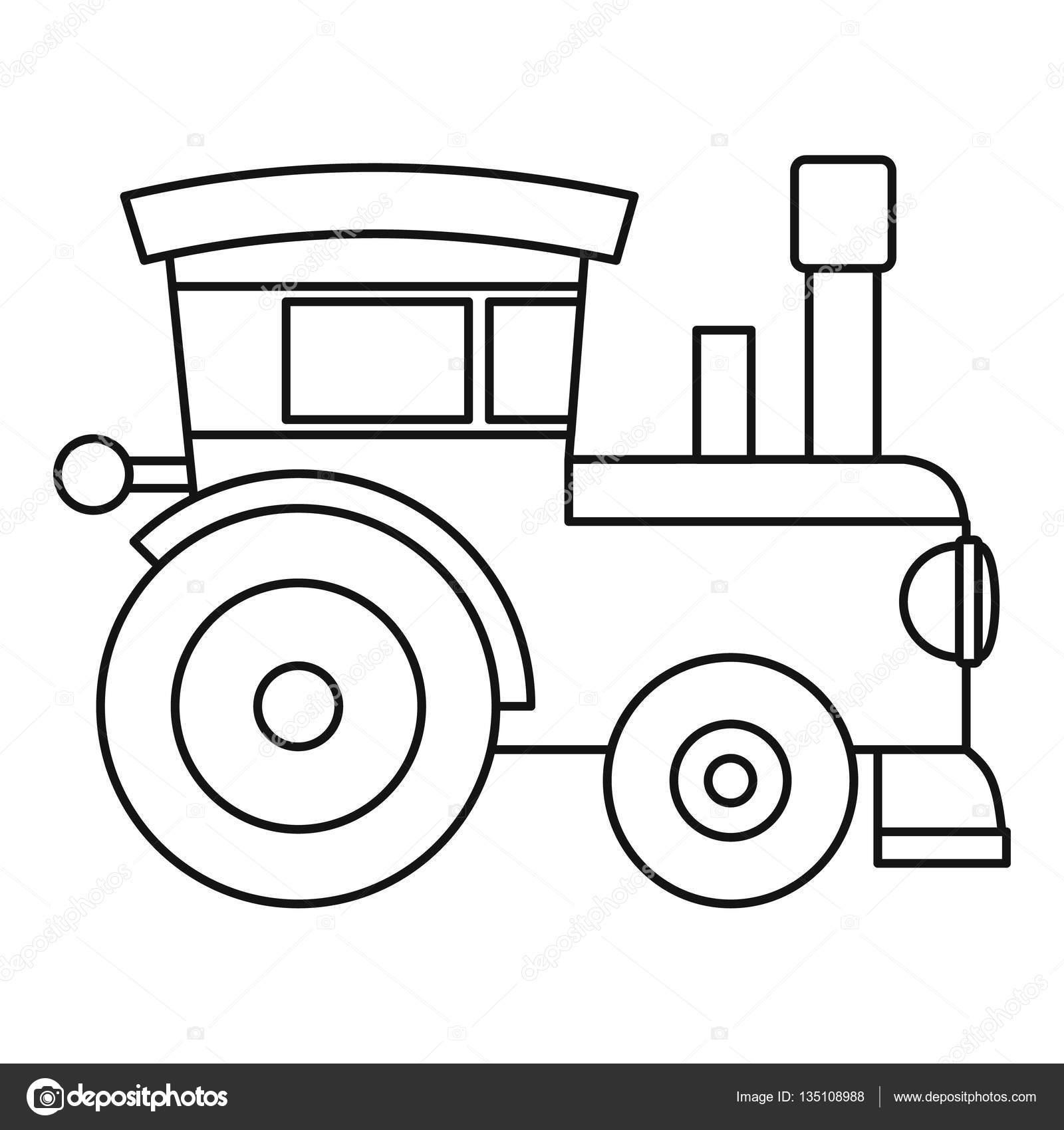 Icone De Brinquedo Locomotiva Do Trem Estilo De Contorno