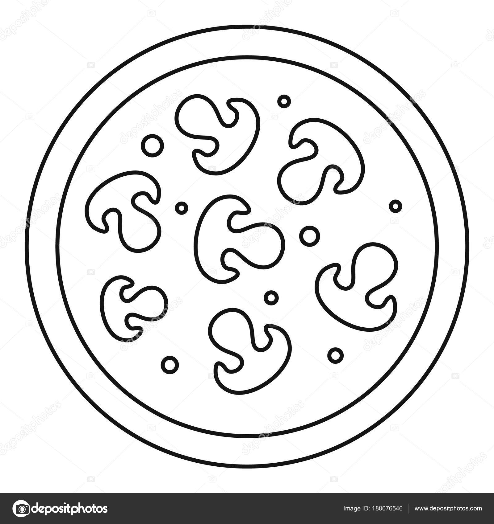 Pizza With Mushrooms Icon Outline Style