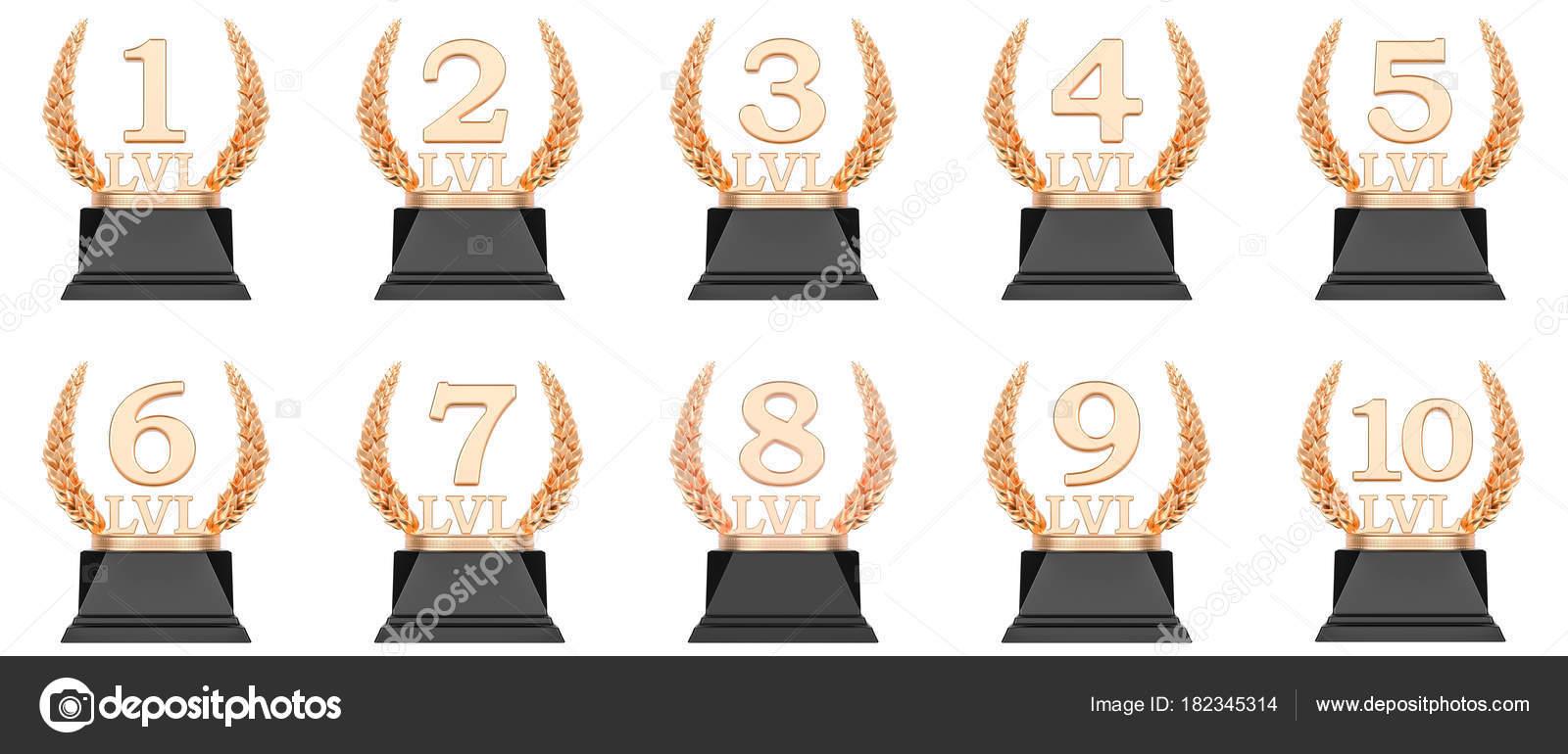 Nivel Do Trofeu De Ouro Xicaras De Primeiro Segundo