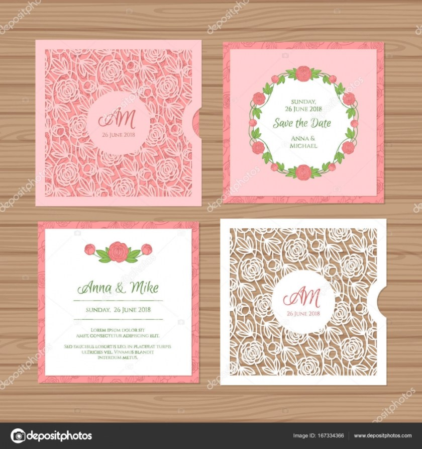 Wedding Invitation Or Greeting Card With Flower Ornament Cut Laser Square Envelope Template For Cutting