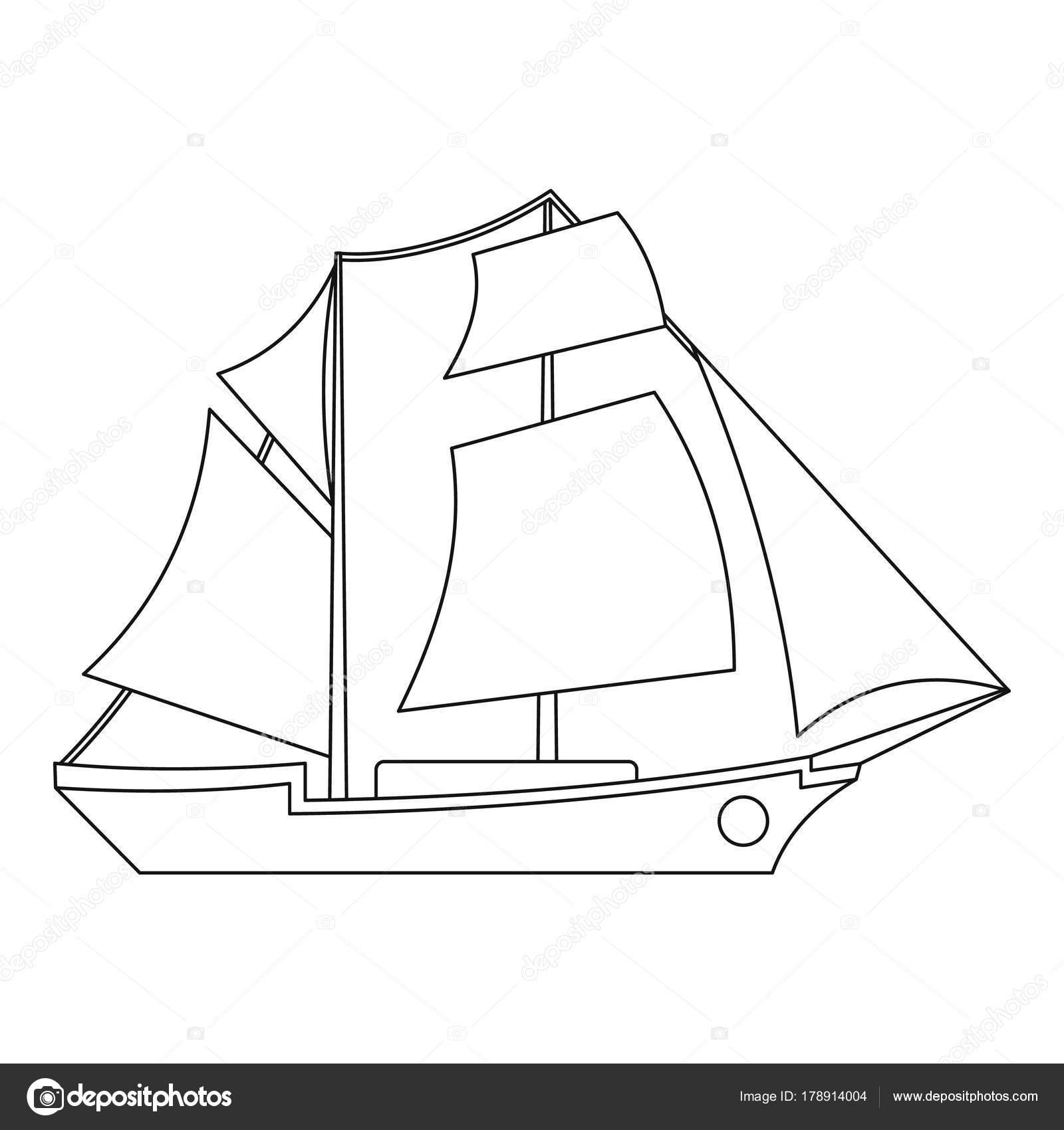Vela Barco Icono De Estilo De Contorno