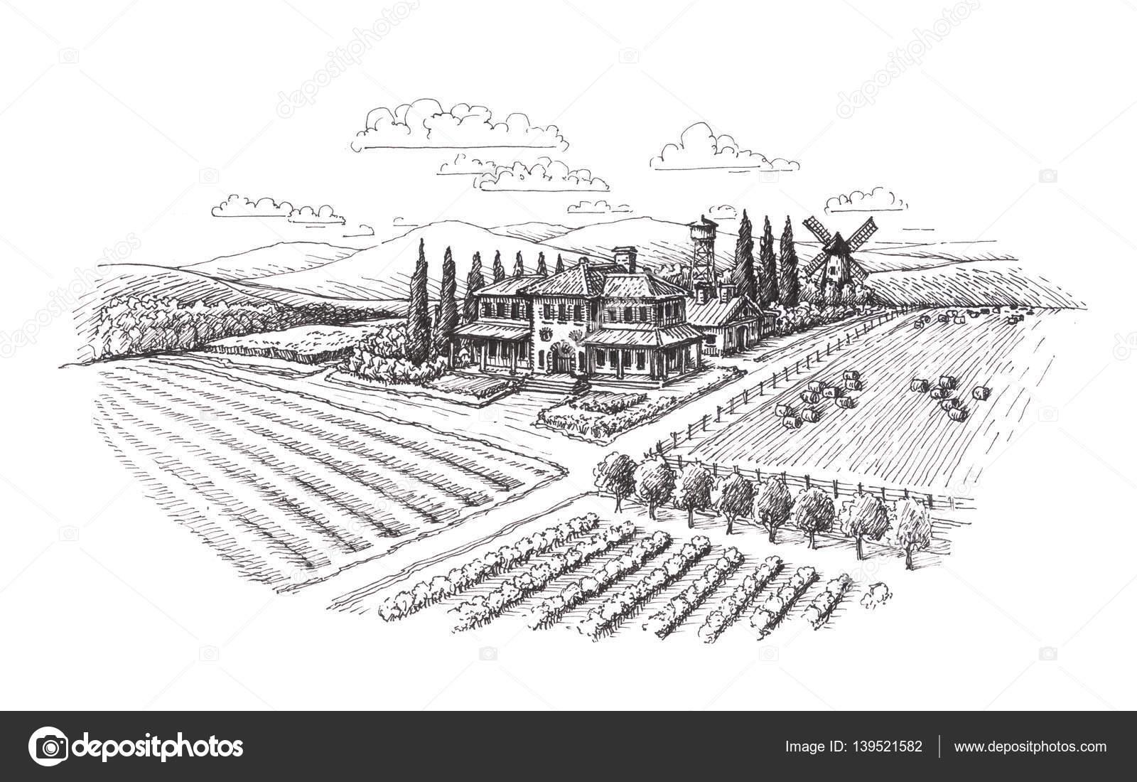 Vintage Landscape Farm Agriculture Sketch
