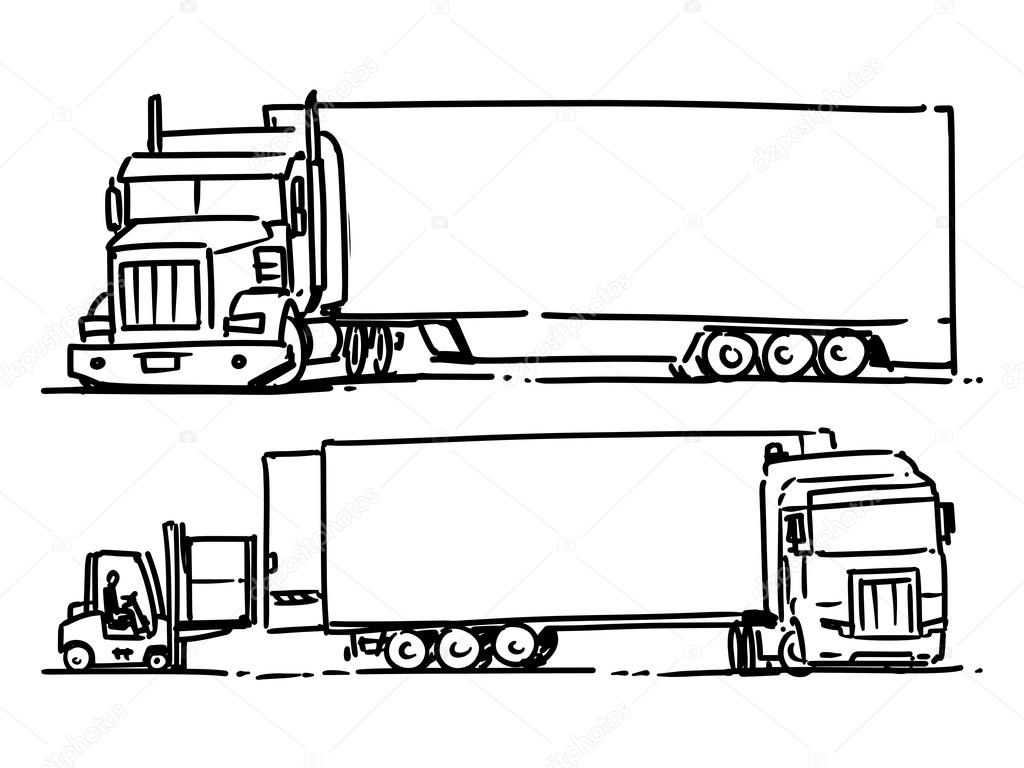 Semi Truck Sketch Illustration Forklift Loading The Truck