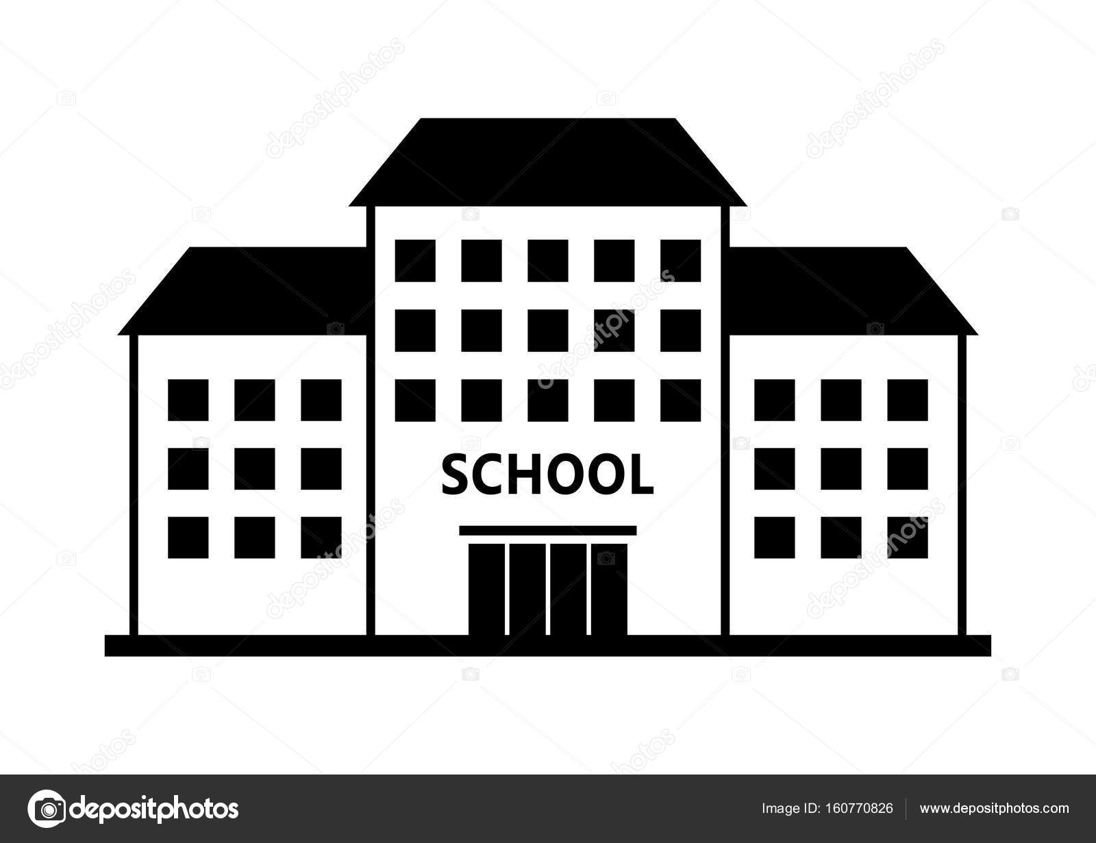 School Vector Icon On White Background Isolated Building