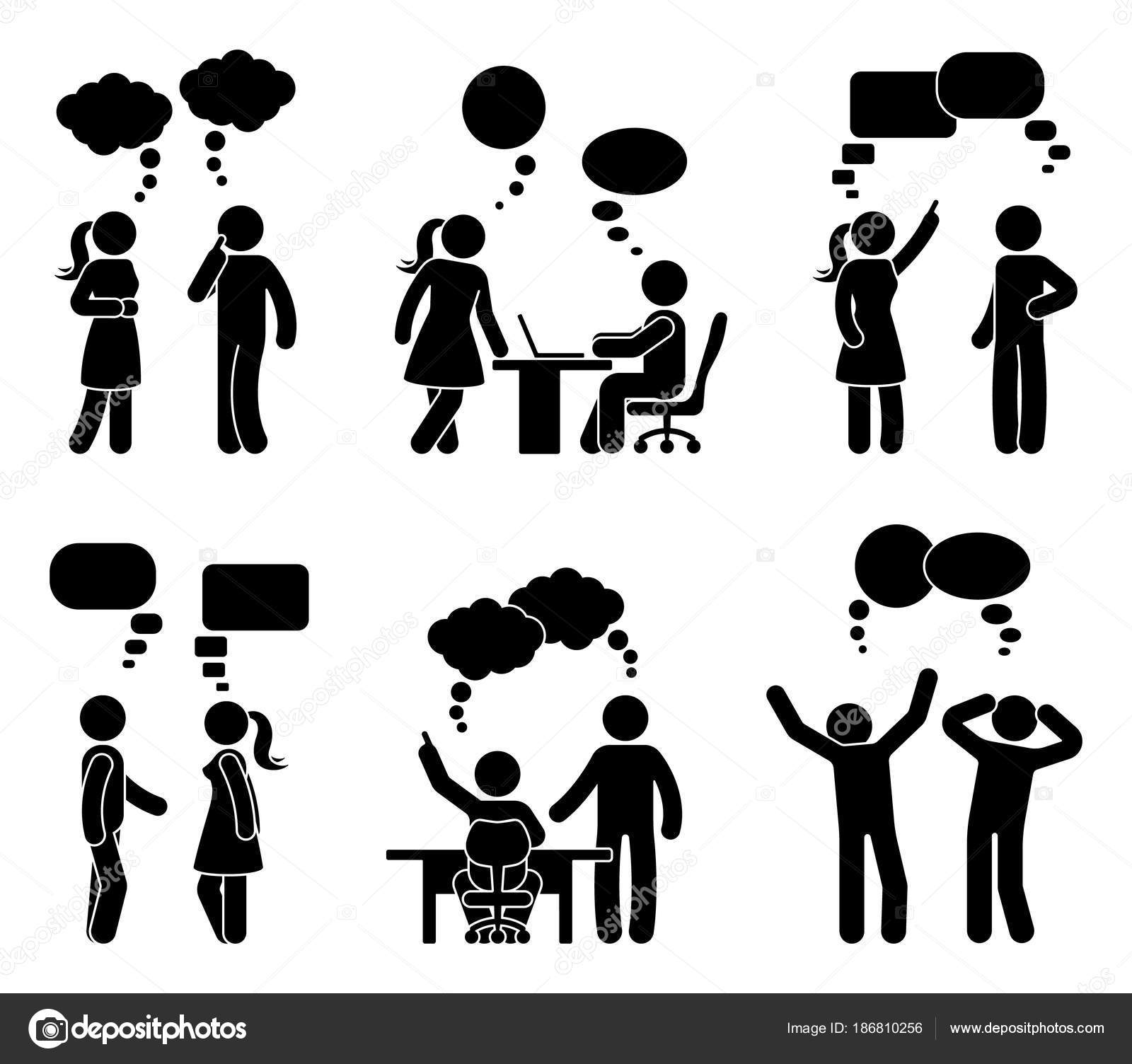 Stick Figure Office People Speech Bubble Set Vector