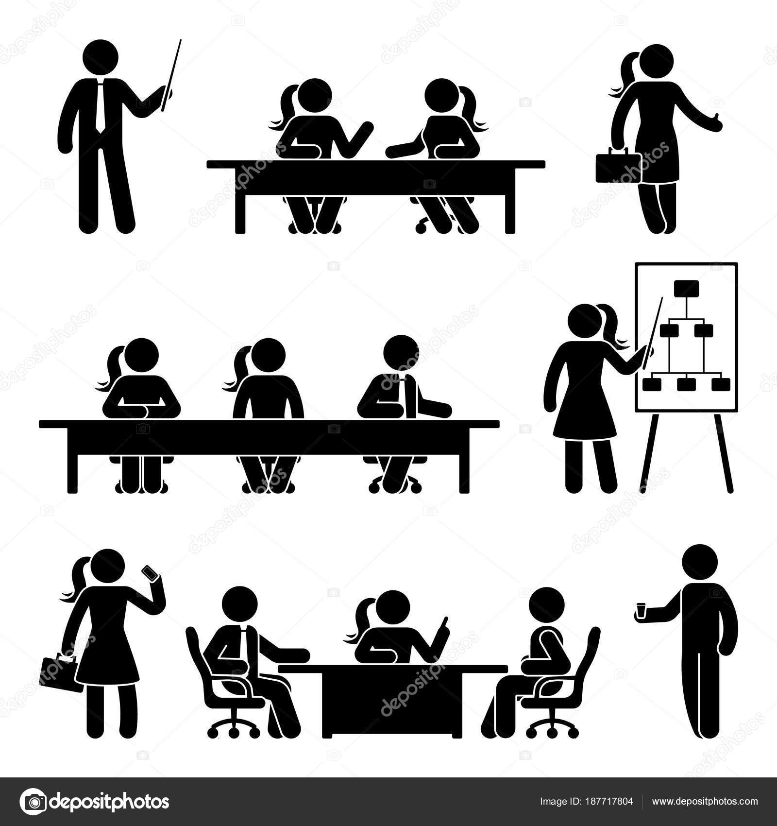 Stick Figure Business Presentation Icon Set Vector