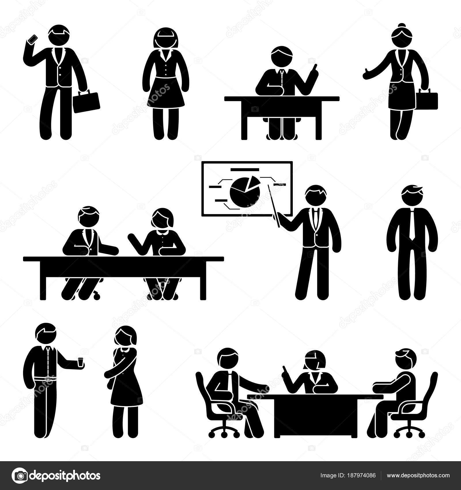 Stick Figure Business Communication Icon Set Vector Illustration Presentation Negotiation