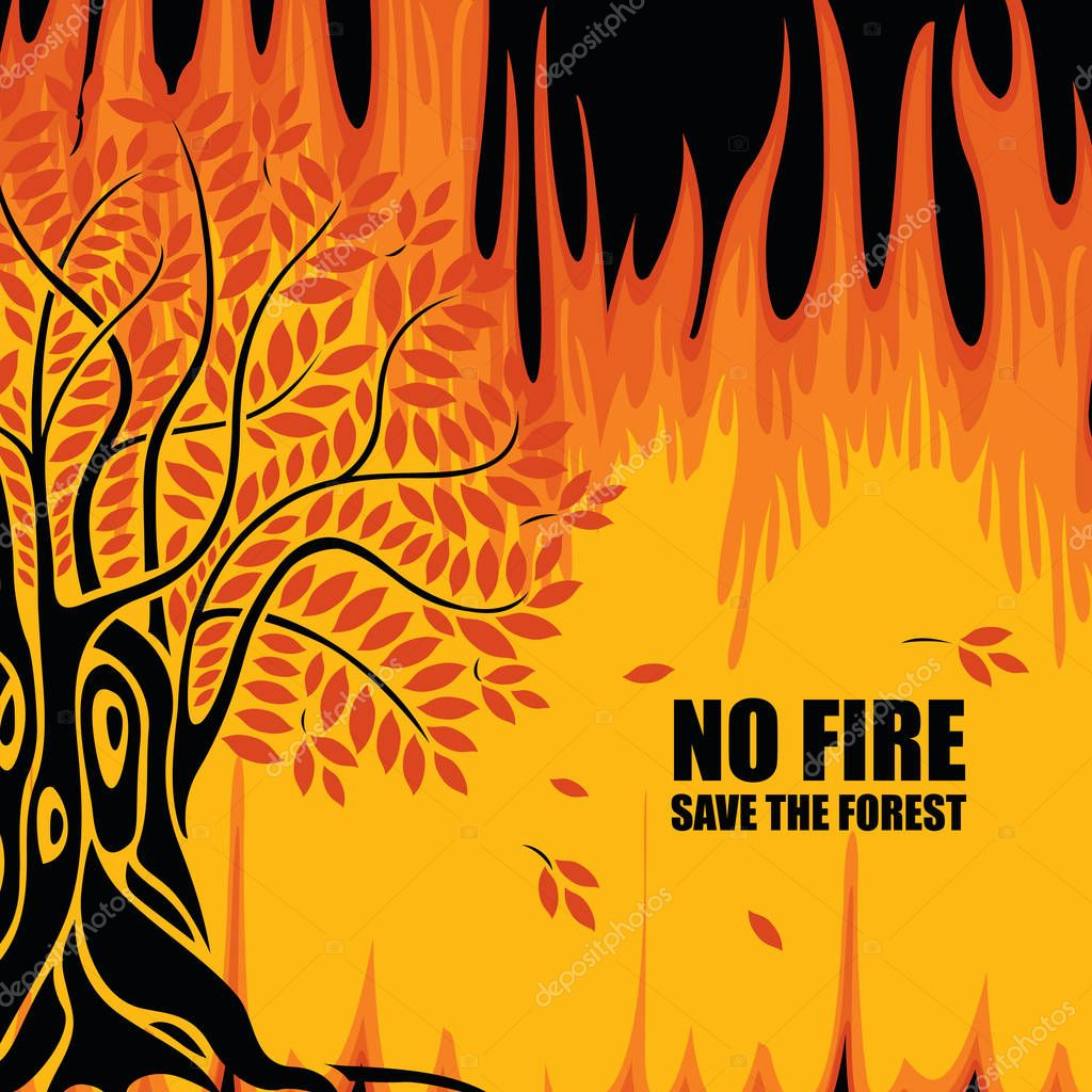 Vector Banner On The Theme Of Forest Fires With The Text No Fire Save The Forest Abstract Illustration With Burning Tree Flaming Woodland The Concept Of Eco Poster Premium Vector In Adobe Illustrator