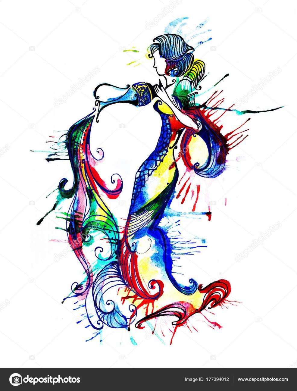 иллюстрация зодиак знак зодиака водолей красивые девушки стоковое