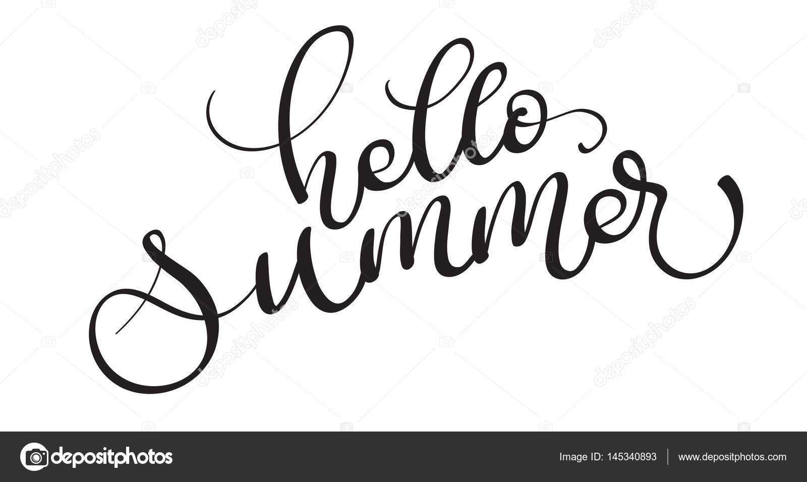 Hallo Sommer Vektortext Auf Wei Em Hintergrund