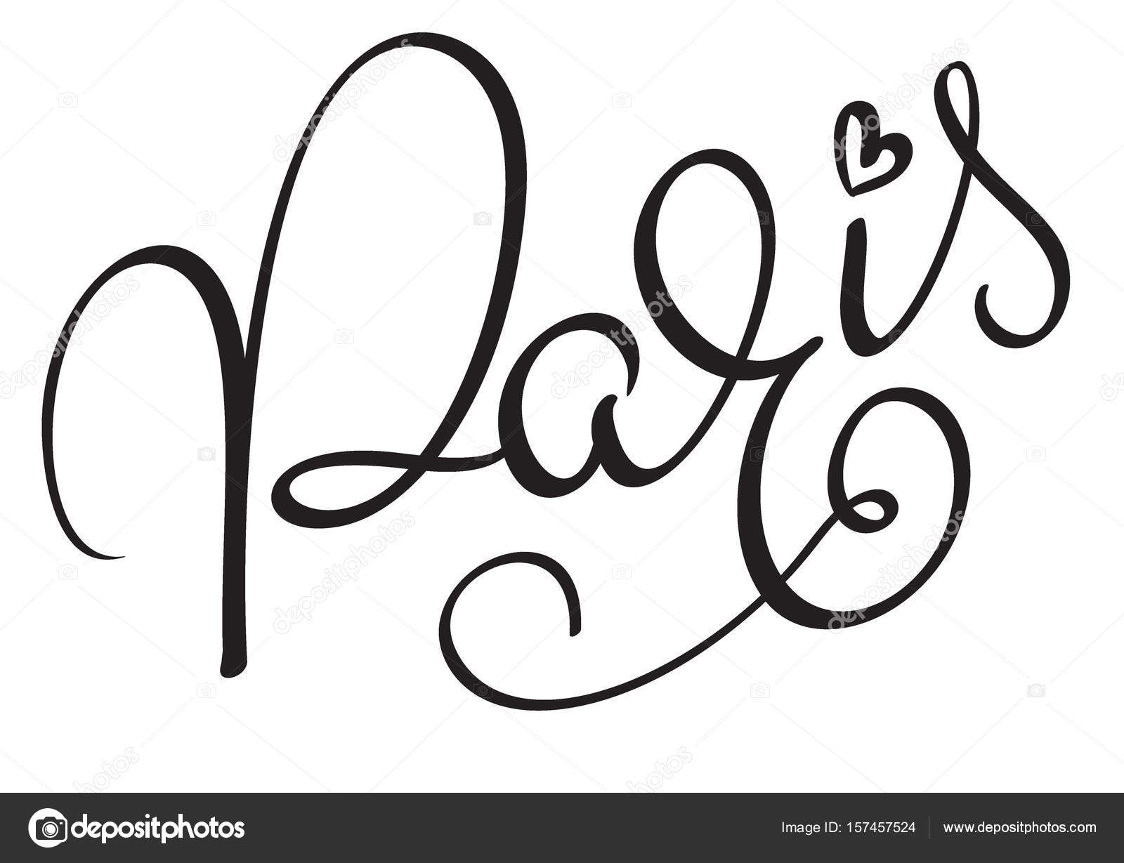 Paris Calligraphy Lettering Word On White Background Hand