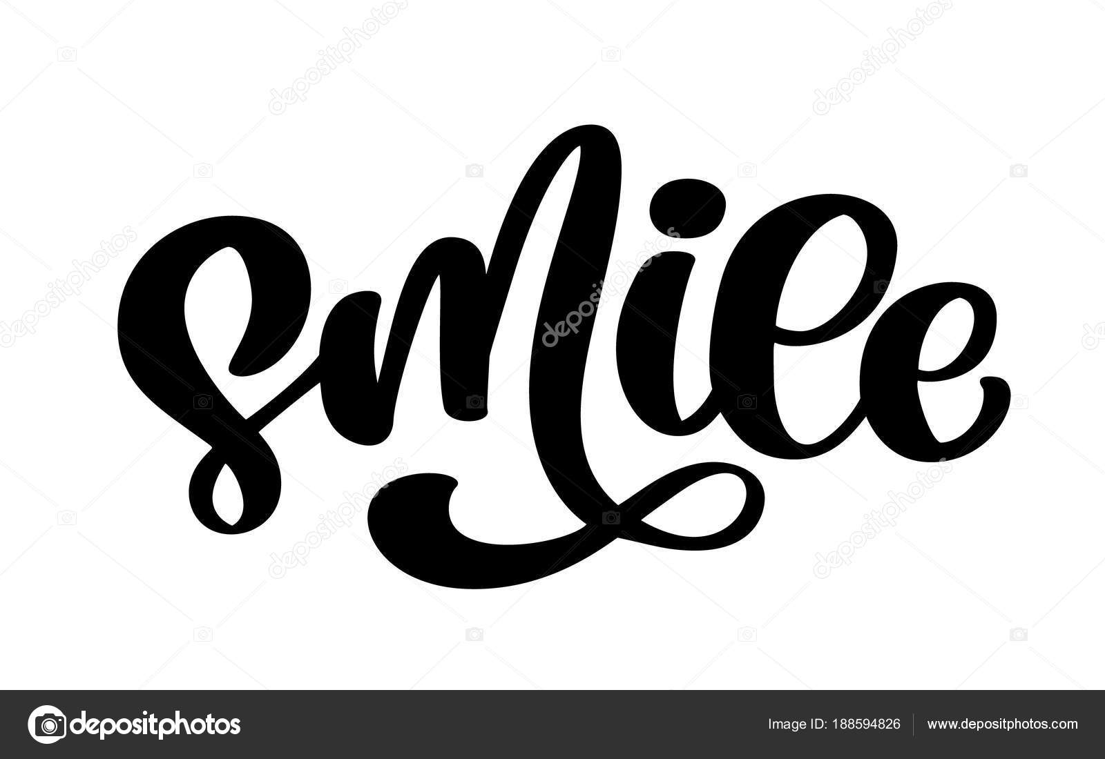Smile Hand Drawn Lettering Text Typography Poster T