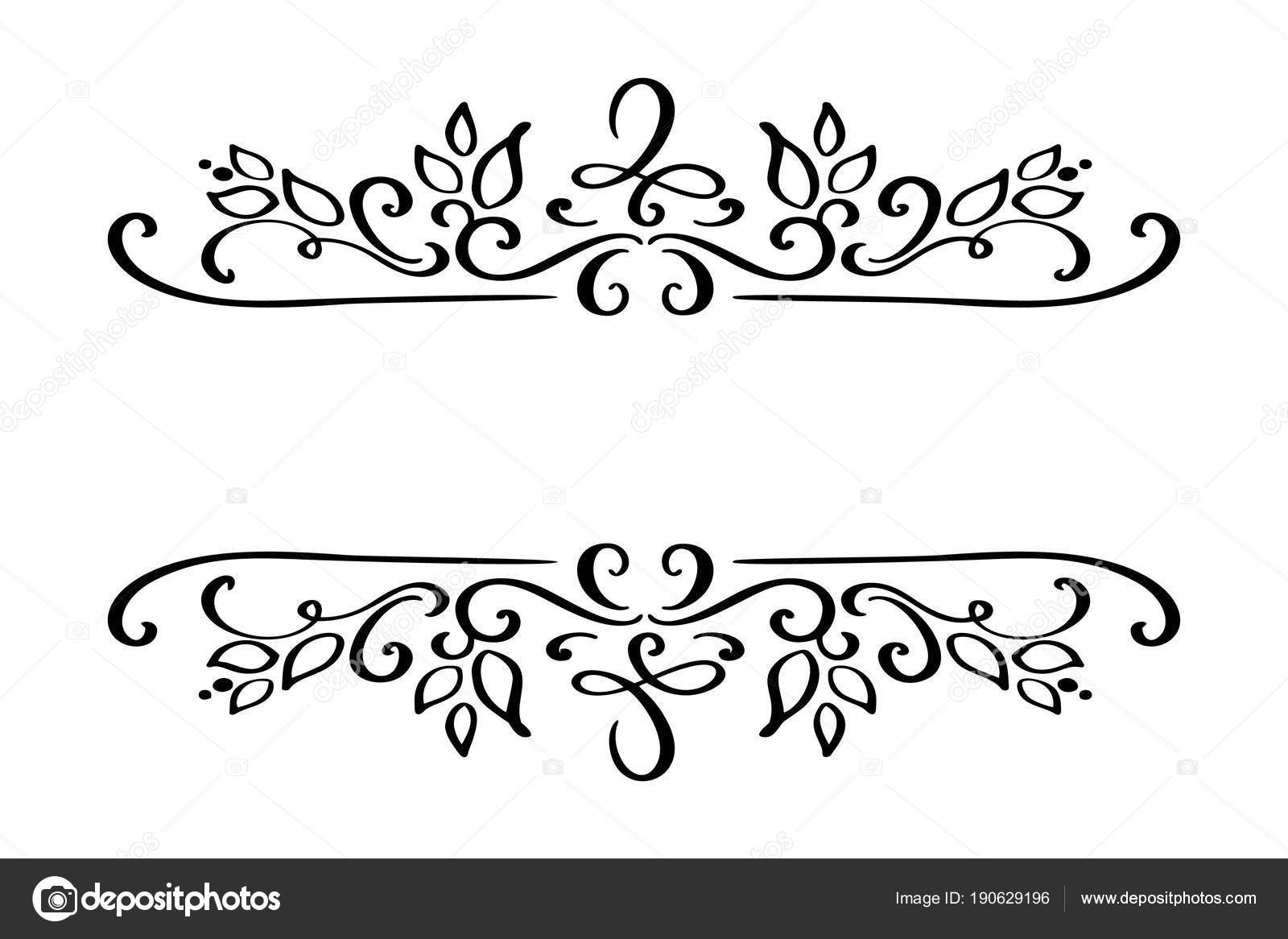 Hand Drawn Border Flourish Separator Calligraphy Designer