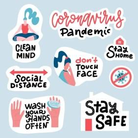 Conjunto Pegatinas Prevención Del Coronavirus Covid Embalaje Dibujado Mano Con — Vector de stock