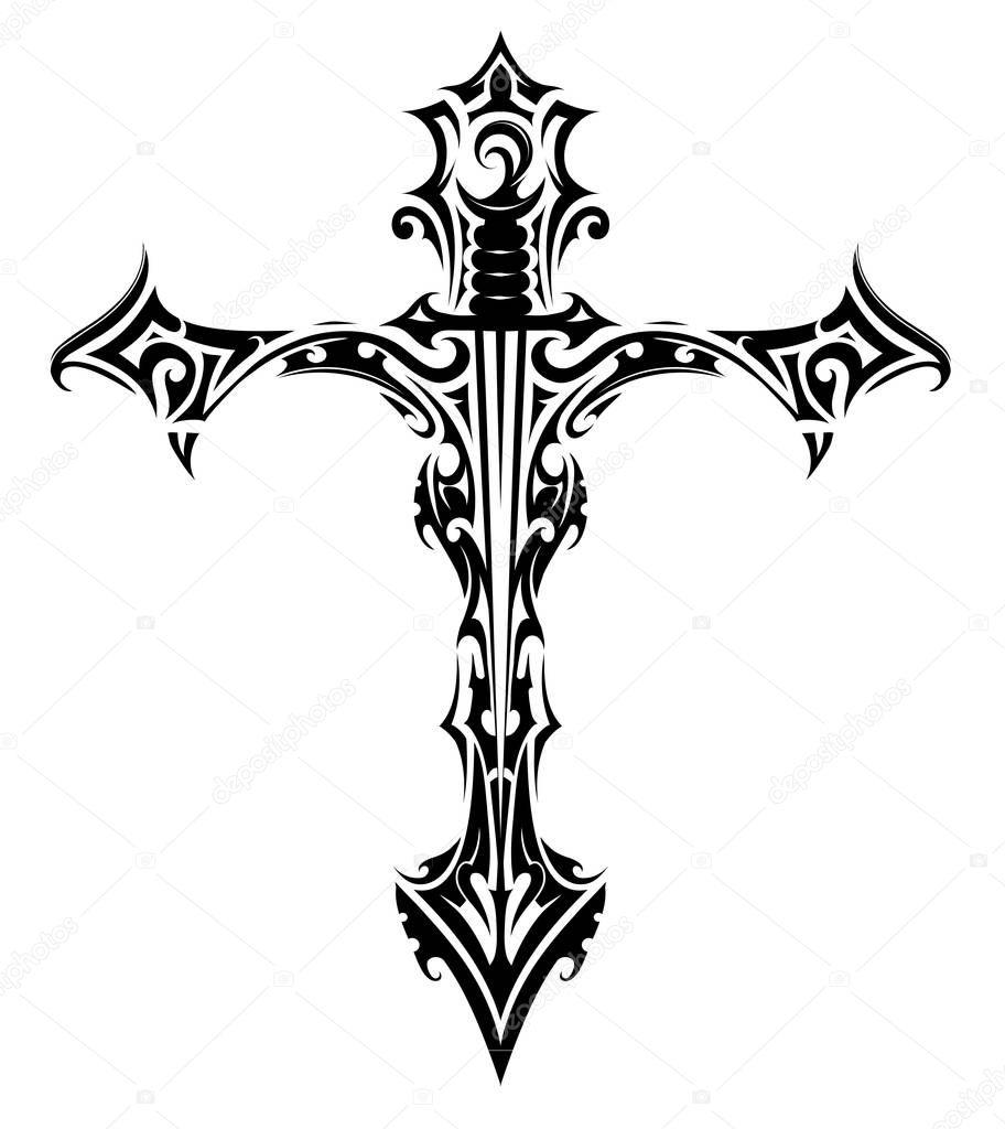 готический крест тату крест татуировка с мечом внутри векторное