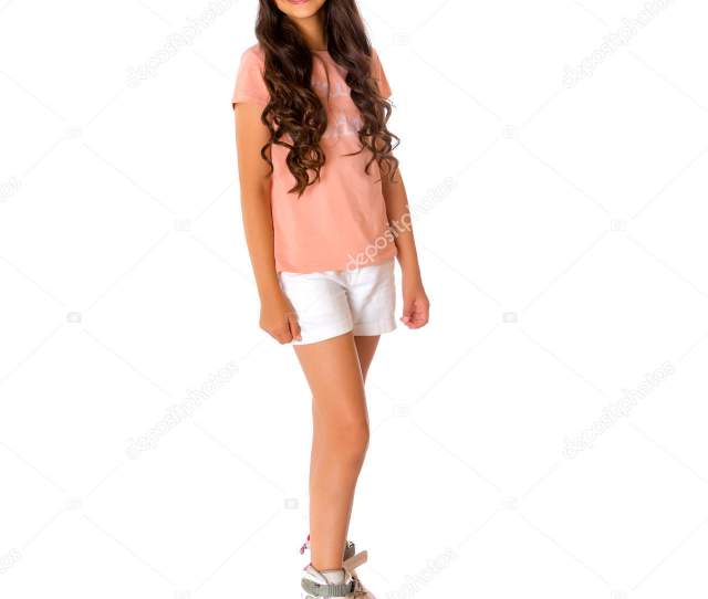 Beautiful Asian Girl Teenager With Long Black Hair In A T Shirt And Shorts Skates Inline Skates The Concept Of Advertising Sports Goods