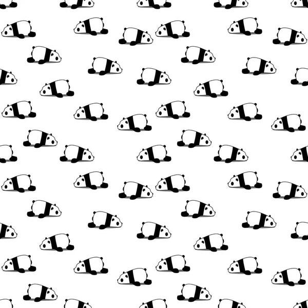 Panda бесшовный узор на белом фоне Векторное изображение