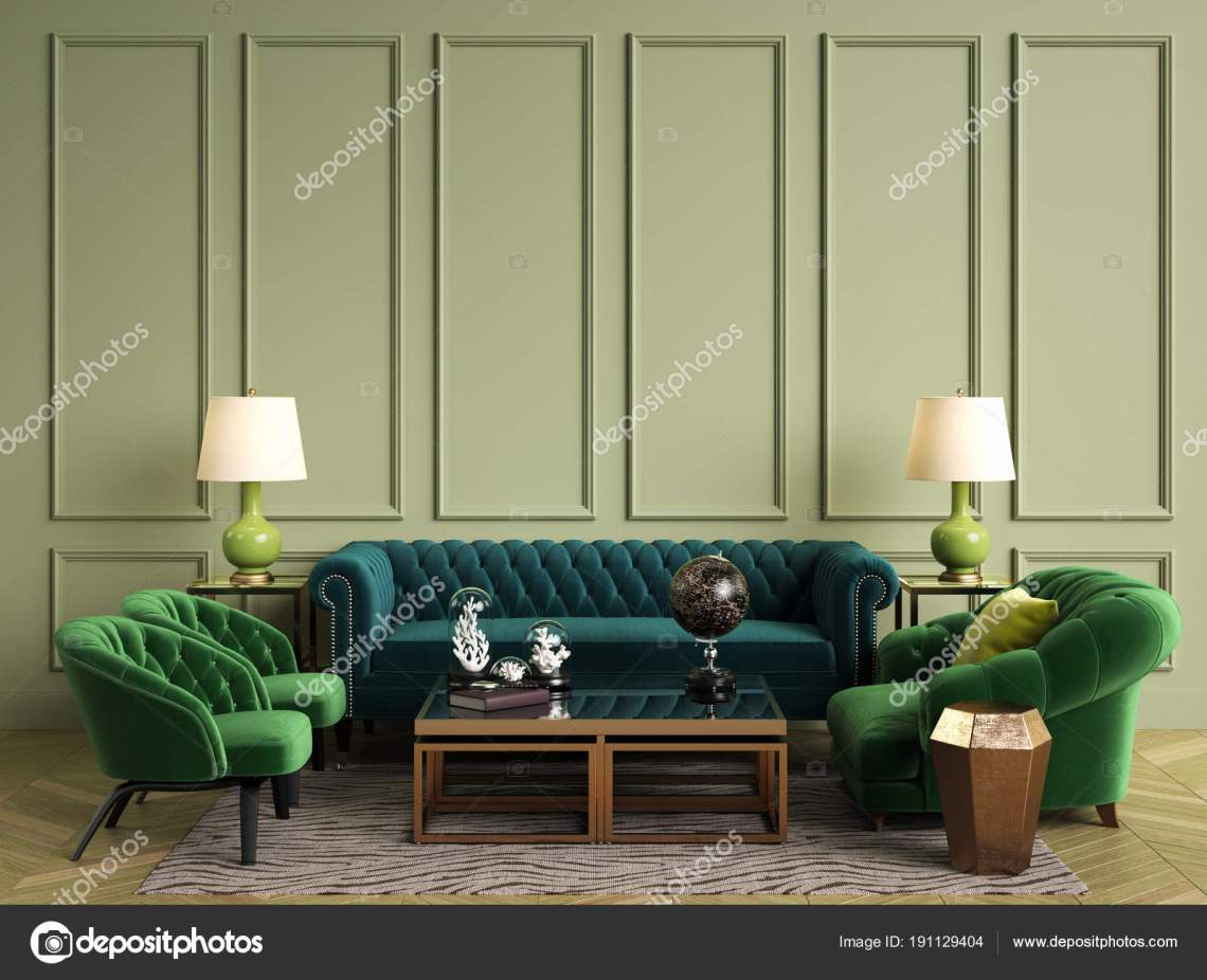 Classic Interior Green Colors Sofa Chairs Sidetables Lamps Table Decor Royalty Free Photo Stock Image By C Remuhin 191129404