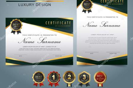 Certificate Template Luxury Modern Pattern Appreciation Award     Certificate template with luxury and modern pattern  appreciation award  diploma template set of green and golden shapes and badge      Vector by  Tzonedesign