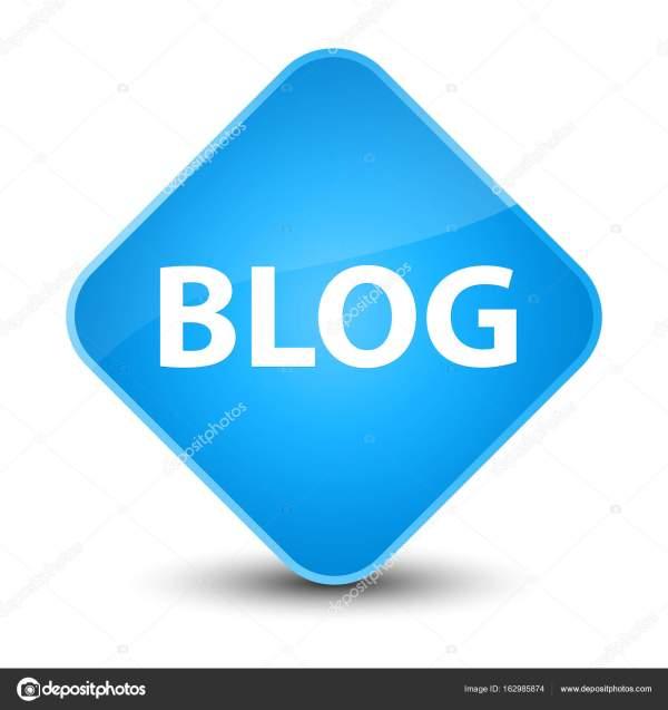 Блог элегантный голубой бриллиант кнопки — Стоковое фото ...