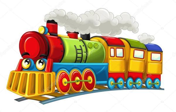 Desenho animado engraçado olhando o trem a vapor — Stock ...
