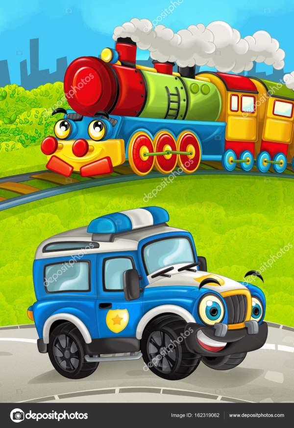 Поезд на лугу с от дорожной полиции грузовик — Стоковое ...