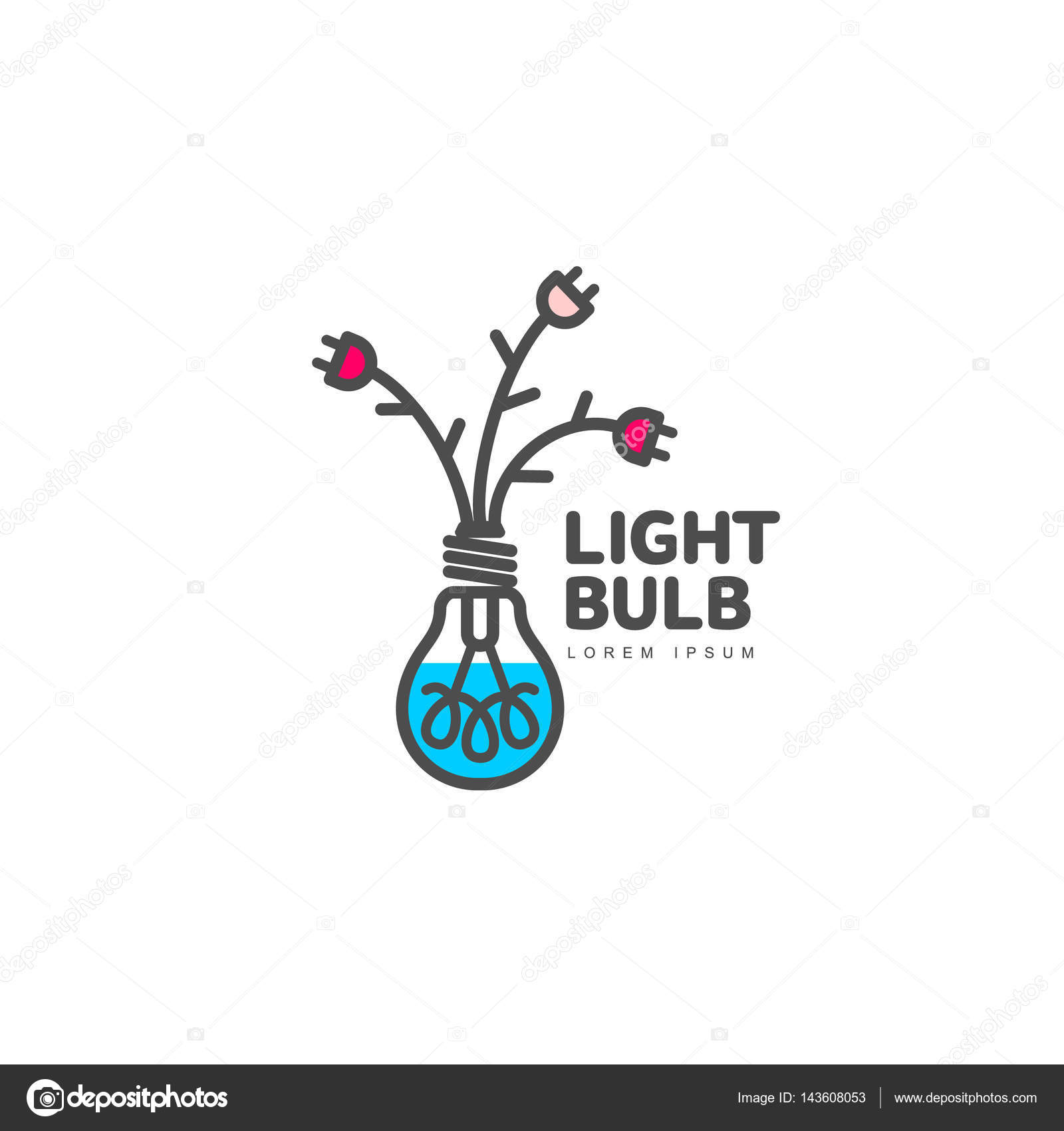 wiring diagram database  light bulb logo with flowers formed by cables and  plugs