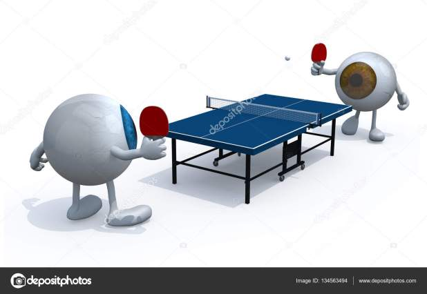 Two Eyes With Arms And Legs That Playing To Table Tennis Stock Photo