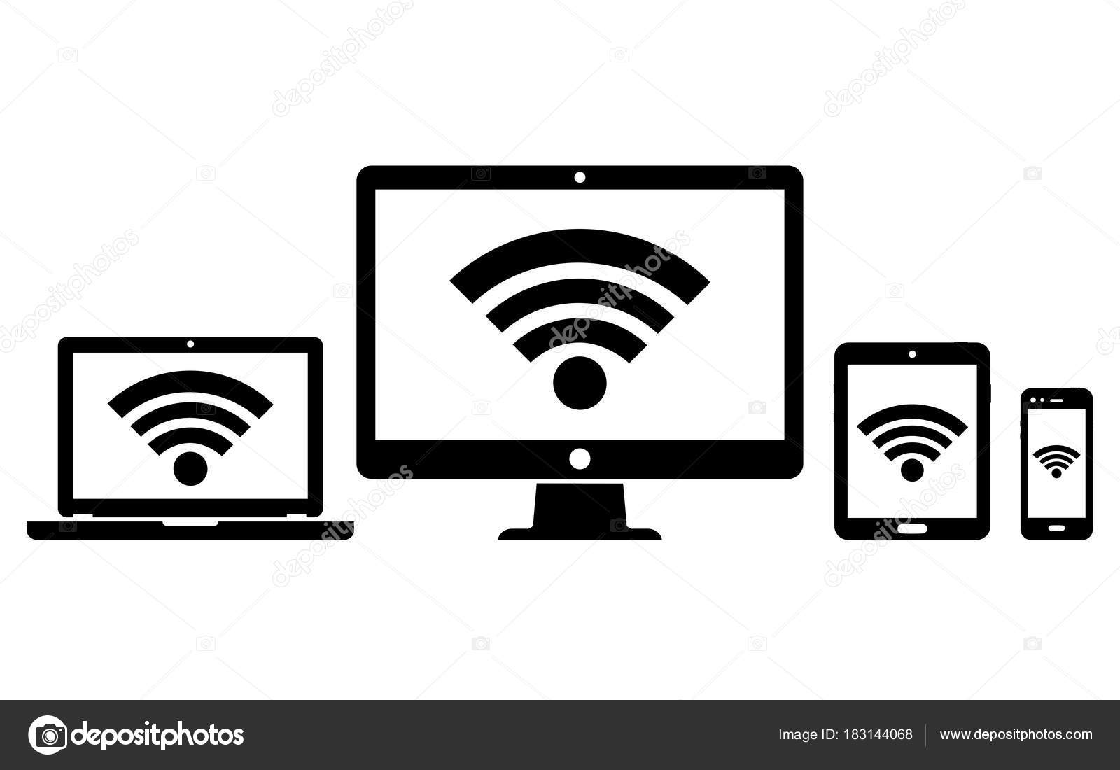 Digital Devices With Wifi Internet Connection Symbol
