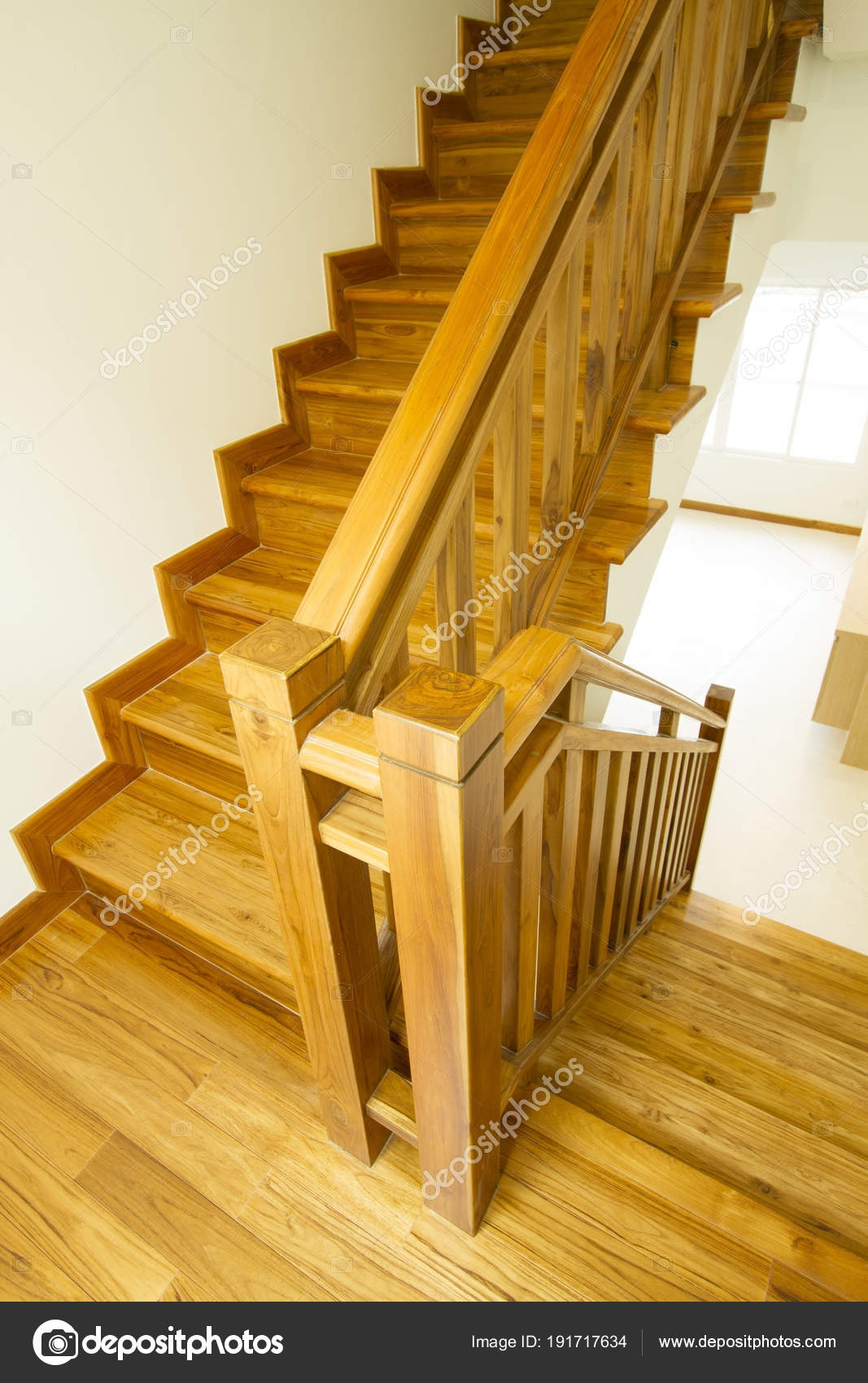 House Interior Modern Wooden Staircase — Stock Photo © Drpnncpp   Wood Stairs In House   Reclaimed Wood   Natural Wood   Residential   Minimalist   Basement