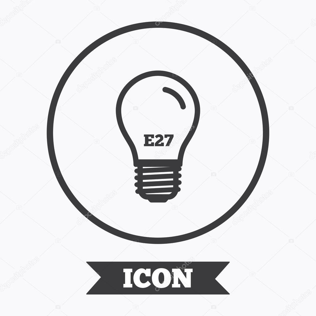 Light Bulb Icon Lamp E27 Screw Socket Symbol