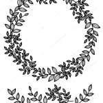 Circle Floral Frame Black Branches Leaves White Background Vector Image By C Rvika Vector Stock 194379850