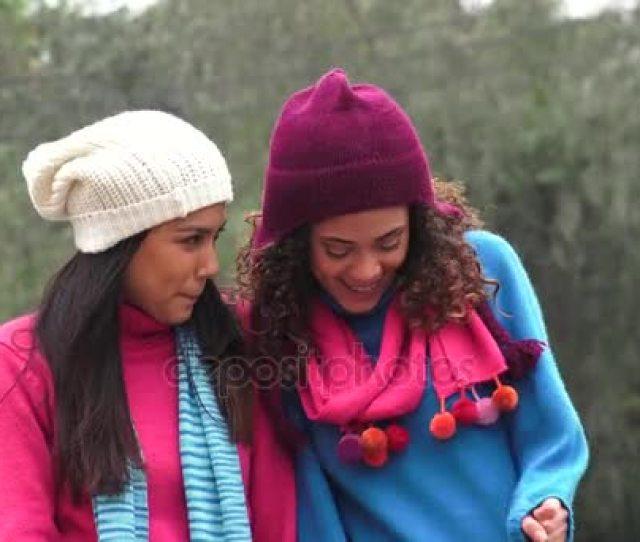 Latina Girls Having Fun Wearing Sweaters In Cold Stock Video