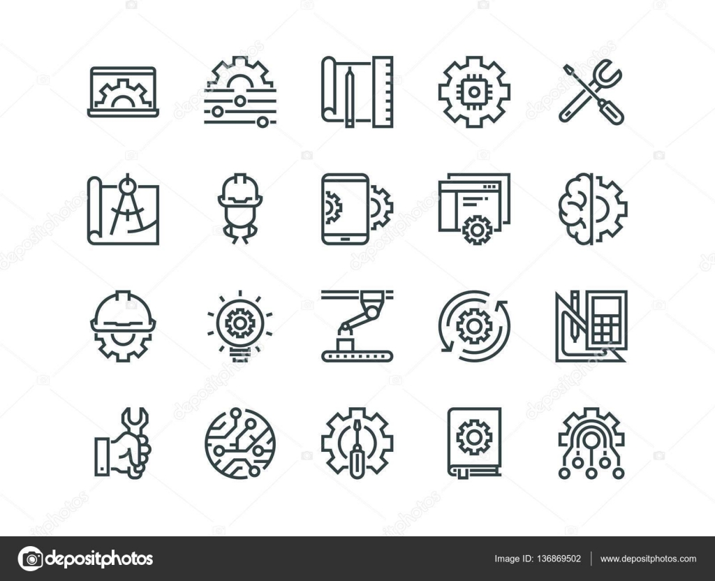 Engineering Set Of Outline Vector Icons Contains Such As