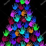Colorful Christmas Tree Kids Hand Prints Vector Illustration Vector Image By C Yayimages Vector Stock 346990080