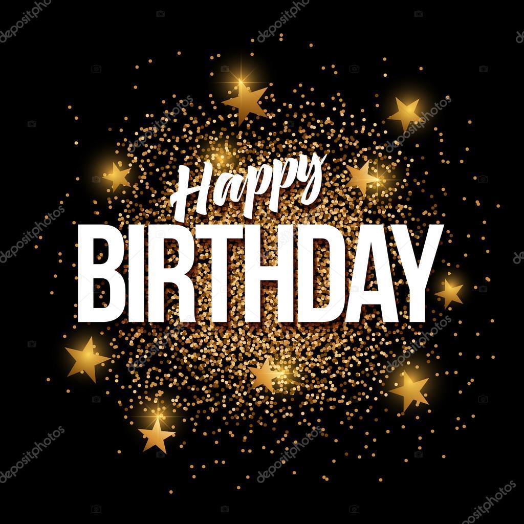 Happy Birthday Golden Glitter Background Banner