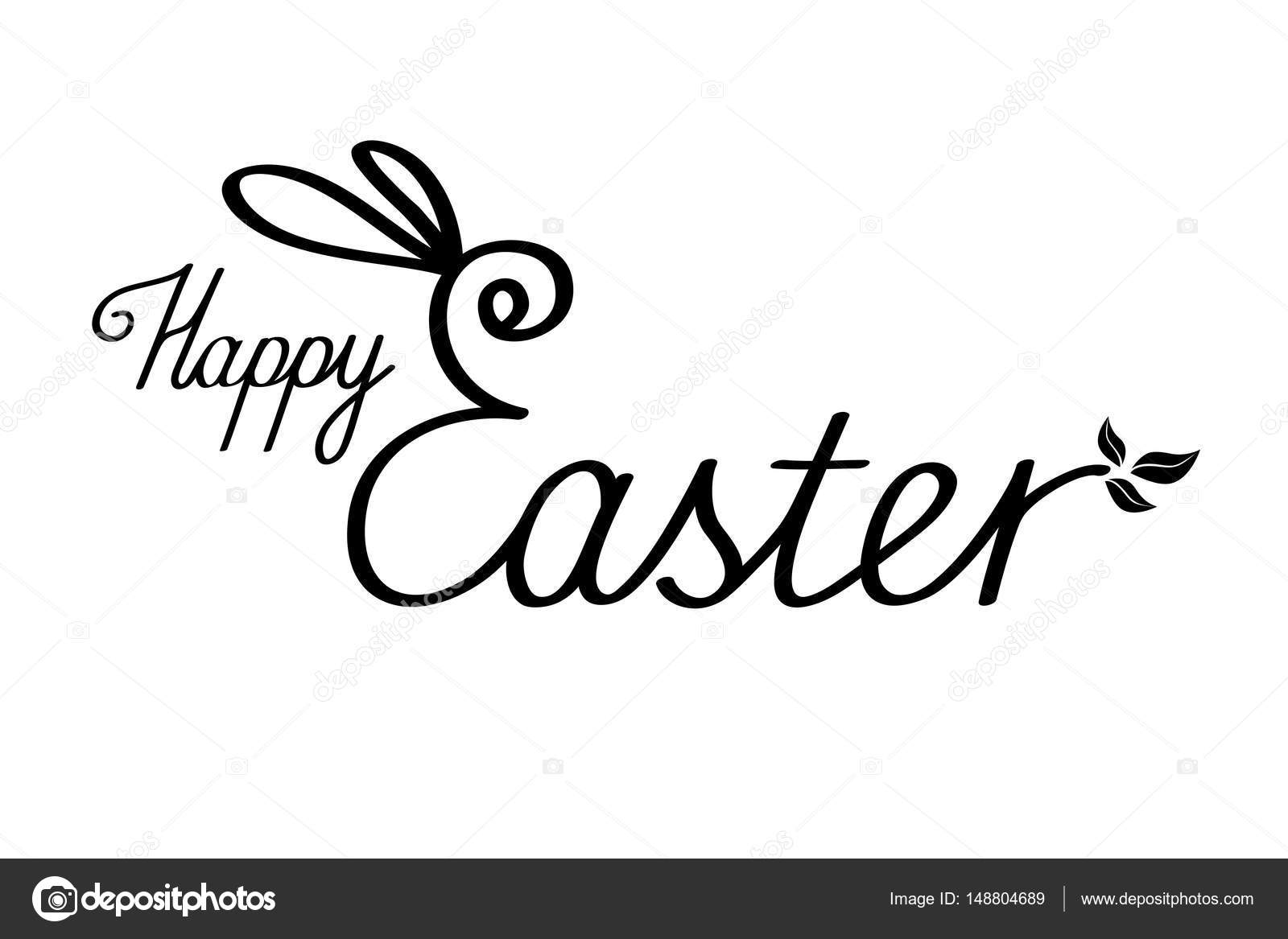 Happy Easter Text With Bunny Ears Black Lettering On