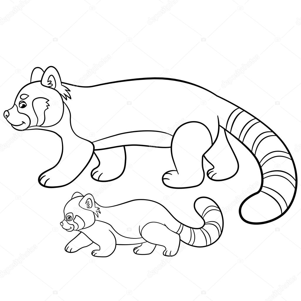 Coloring Pages Mother Red Panda Walks With Her Baby