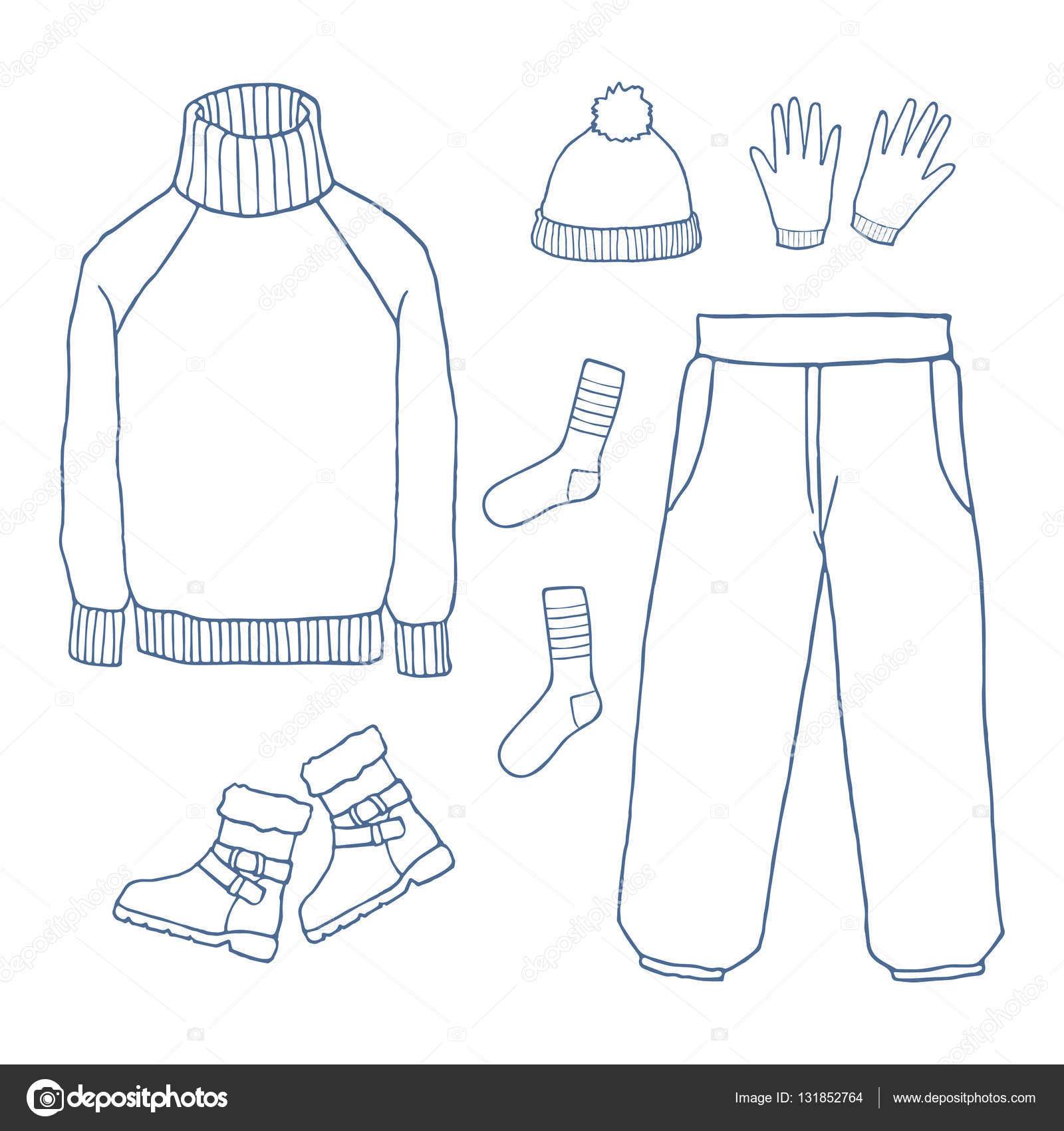 Winter Clothes Set Outline Hand Drawing Doodles
