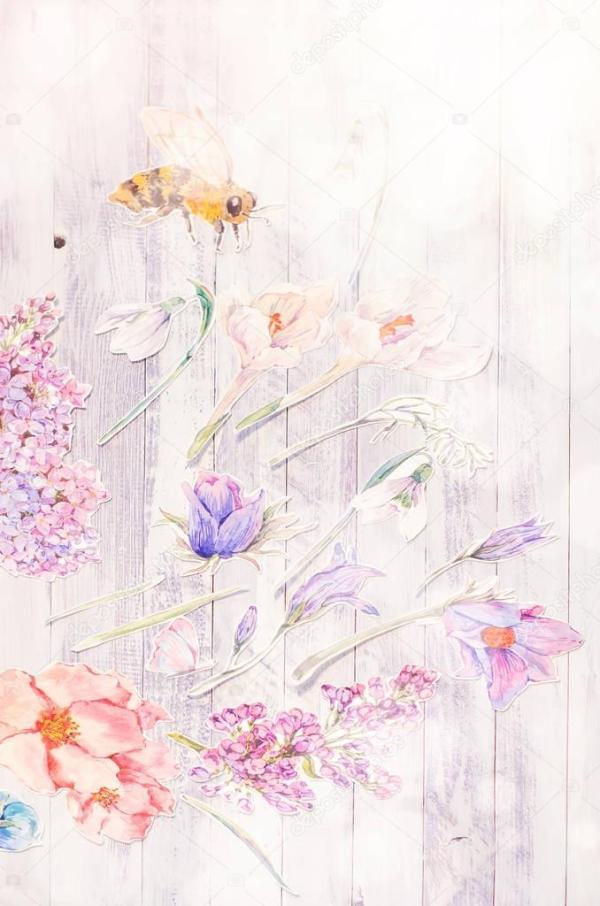 Весенние украшения с цветами акварель — Стоковое фото ...