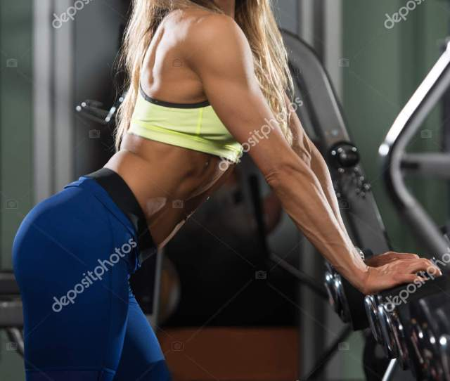 Sexy Fitness Woman Posing In Gym Stock Photo