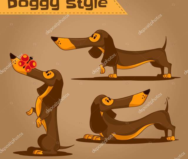 Doggy Style Theme Set Of Cartoon Brown Dachshund In Different Poses Use This Hand Drawn Vector Illustration For Design Your Website Or Publications