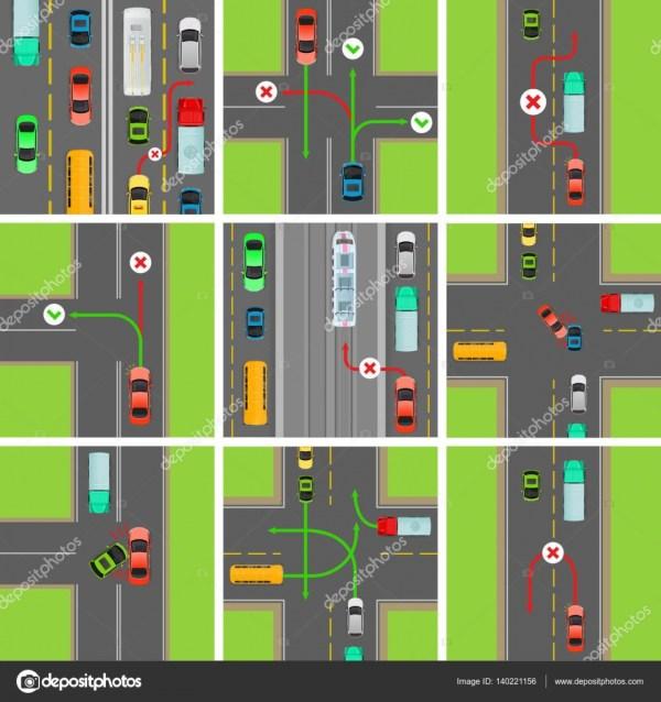 Набор ситуаций на дороге. Правила дорожного движения ...