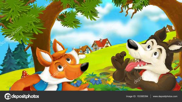 Волк и лиса на лугу — Стоковое фото © agaes8080 #153365394