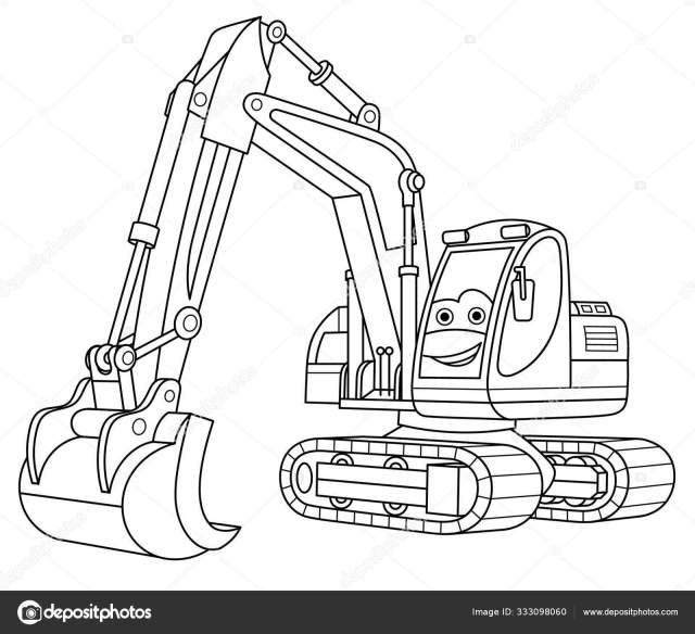 Coloring page with excavator Stock Vector Image by ©Sybirko #30